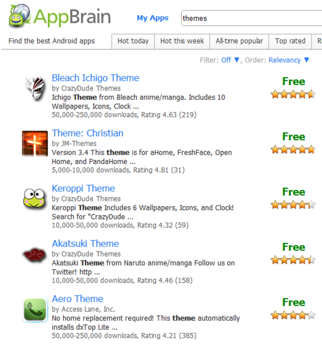 "Appbrain searching for ""Themes"" shows over 11000 entries!"