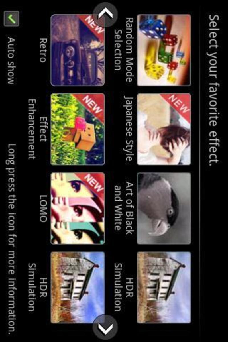 Camera 360 Effects Panel, lots of different effects to choose from!