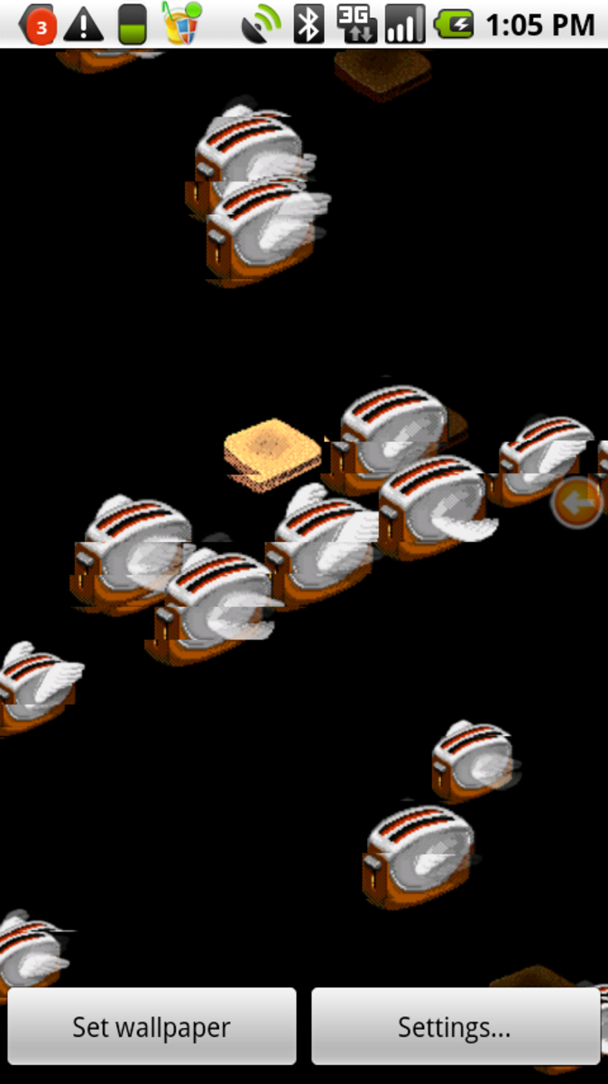 """A Classic Reborn: Flying Toasters homage to Berkeley System's """"After Dark"""" screensavers, on Android as Live Wallpaper"""