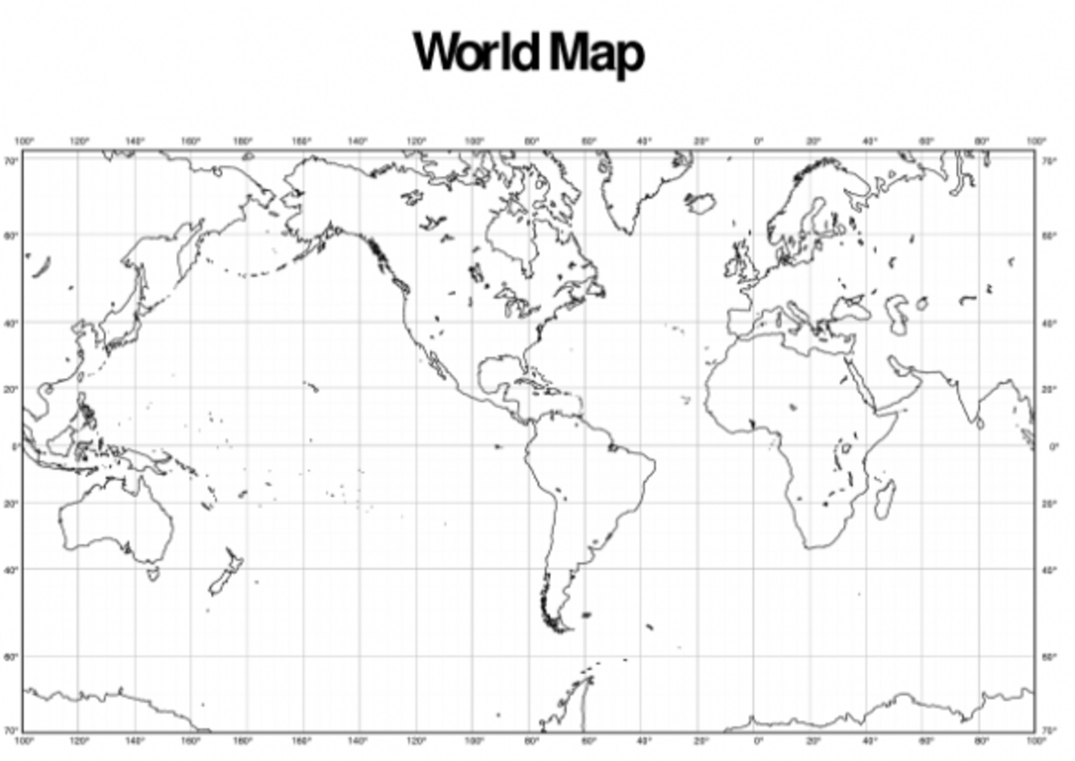 blank world map with longitude and latitude