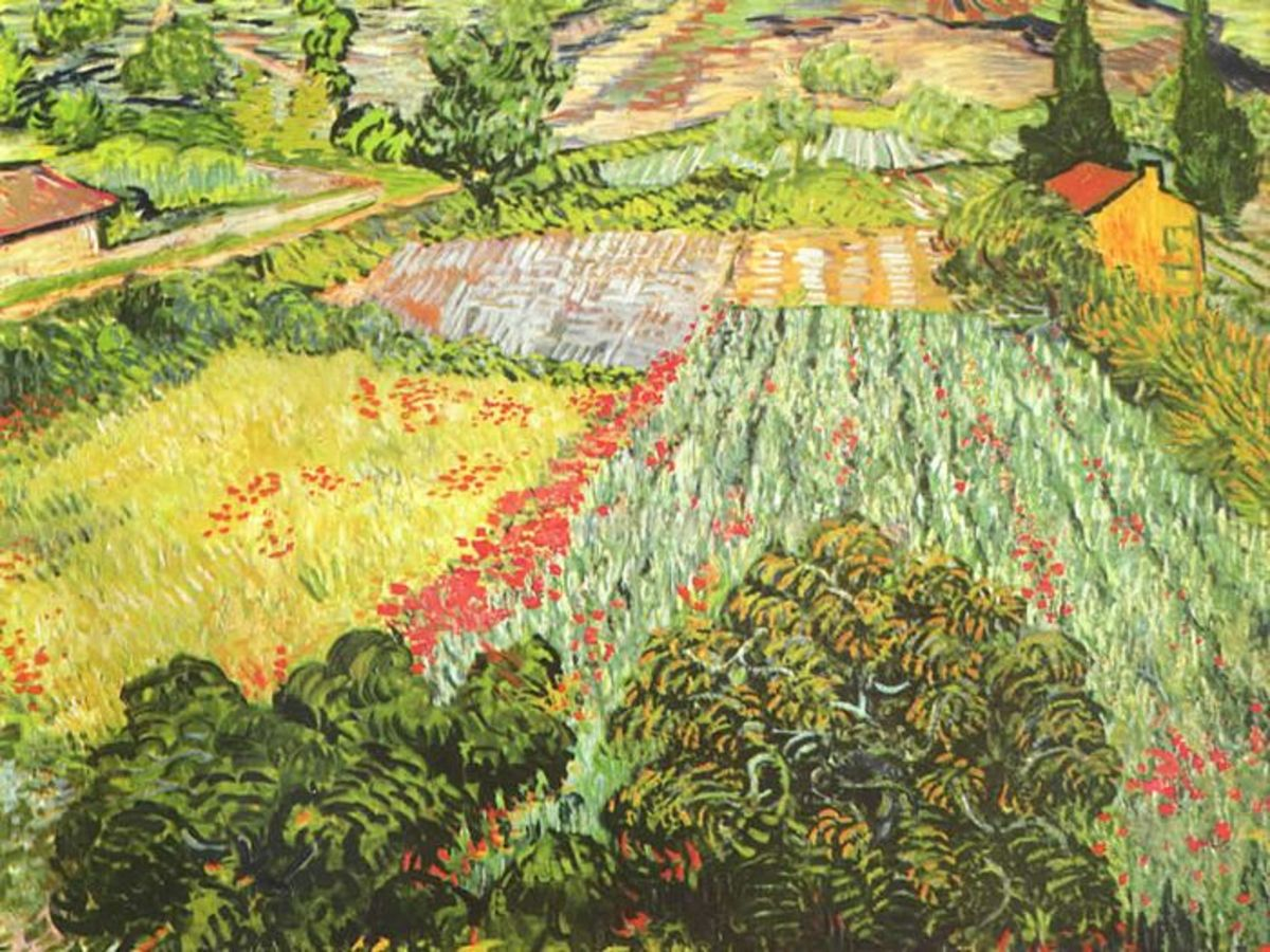 free cross stitch pattern Van Gogh Field of Poppies