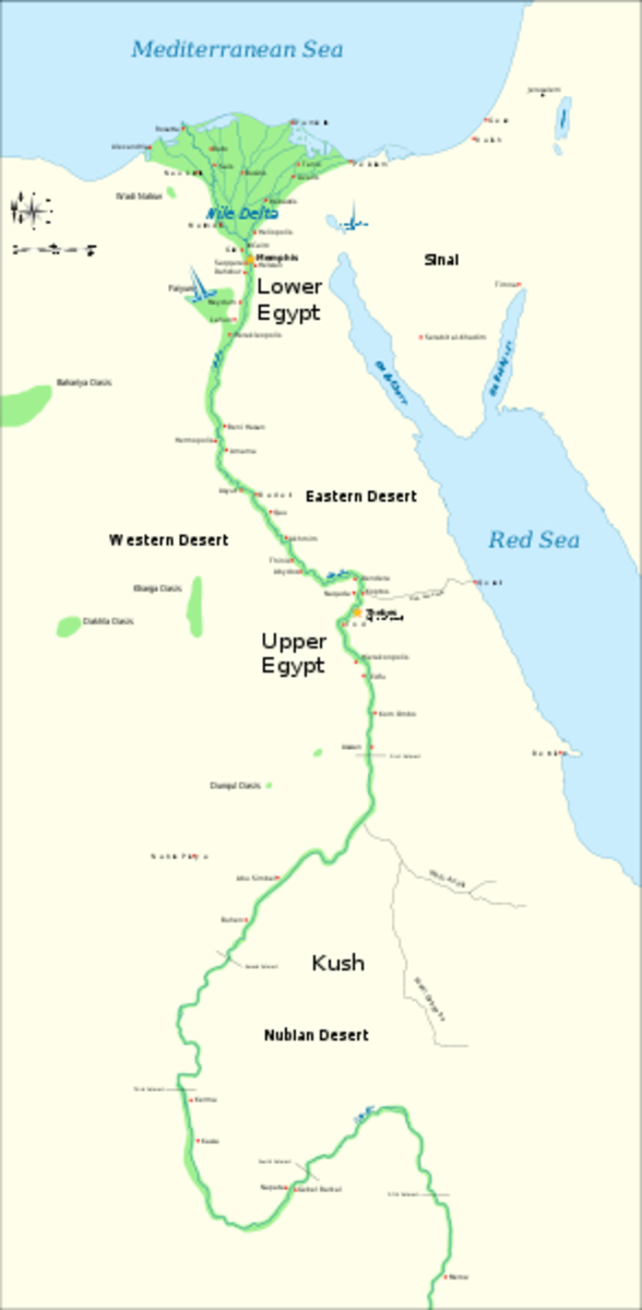 A map of Ancient Egypt showing the Upper and Lower Kingdoms