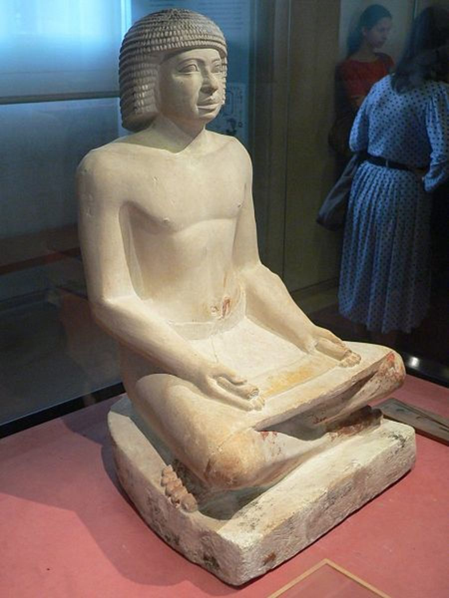 A statue of a slave scribe from the 5th dynasty