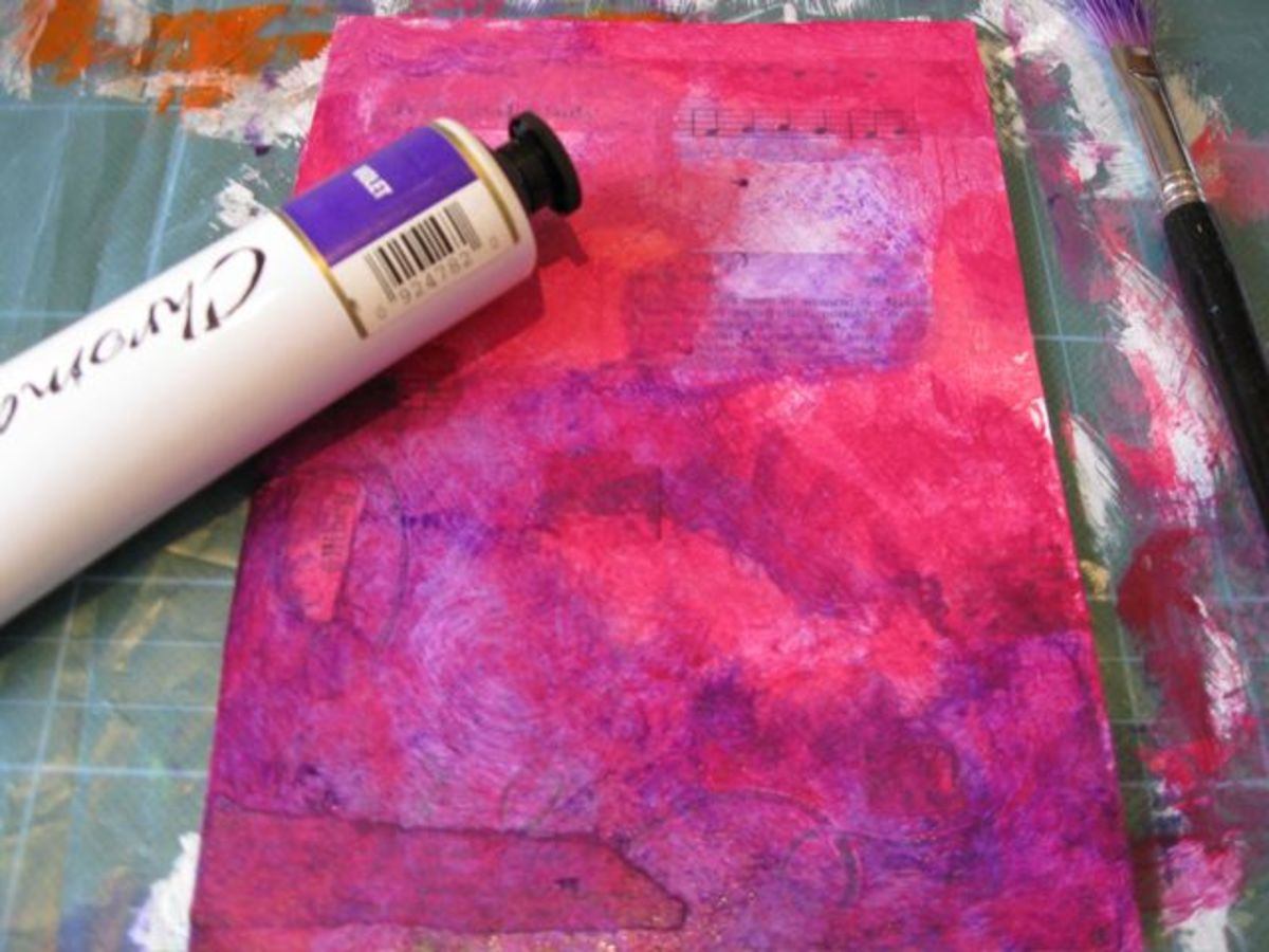 Using acrylic paints to create a colourful background