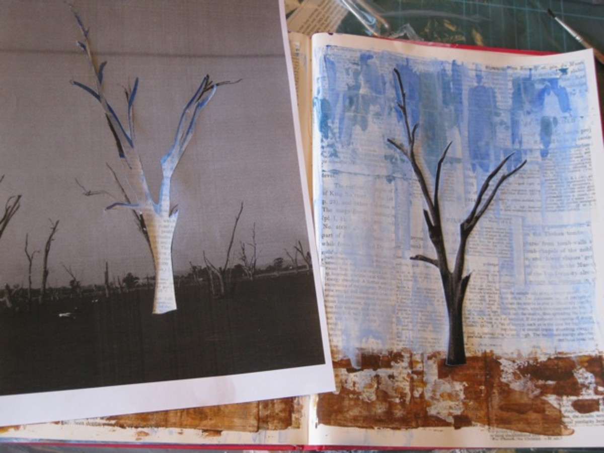 Using stencils is an easy way to add images to your mixed media paintings.