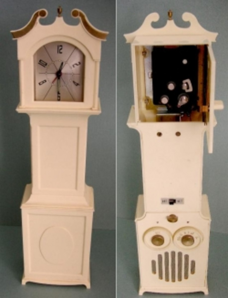 Grandmother clock with secret door
