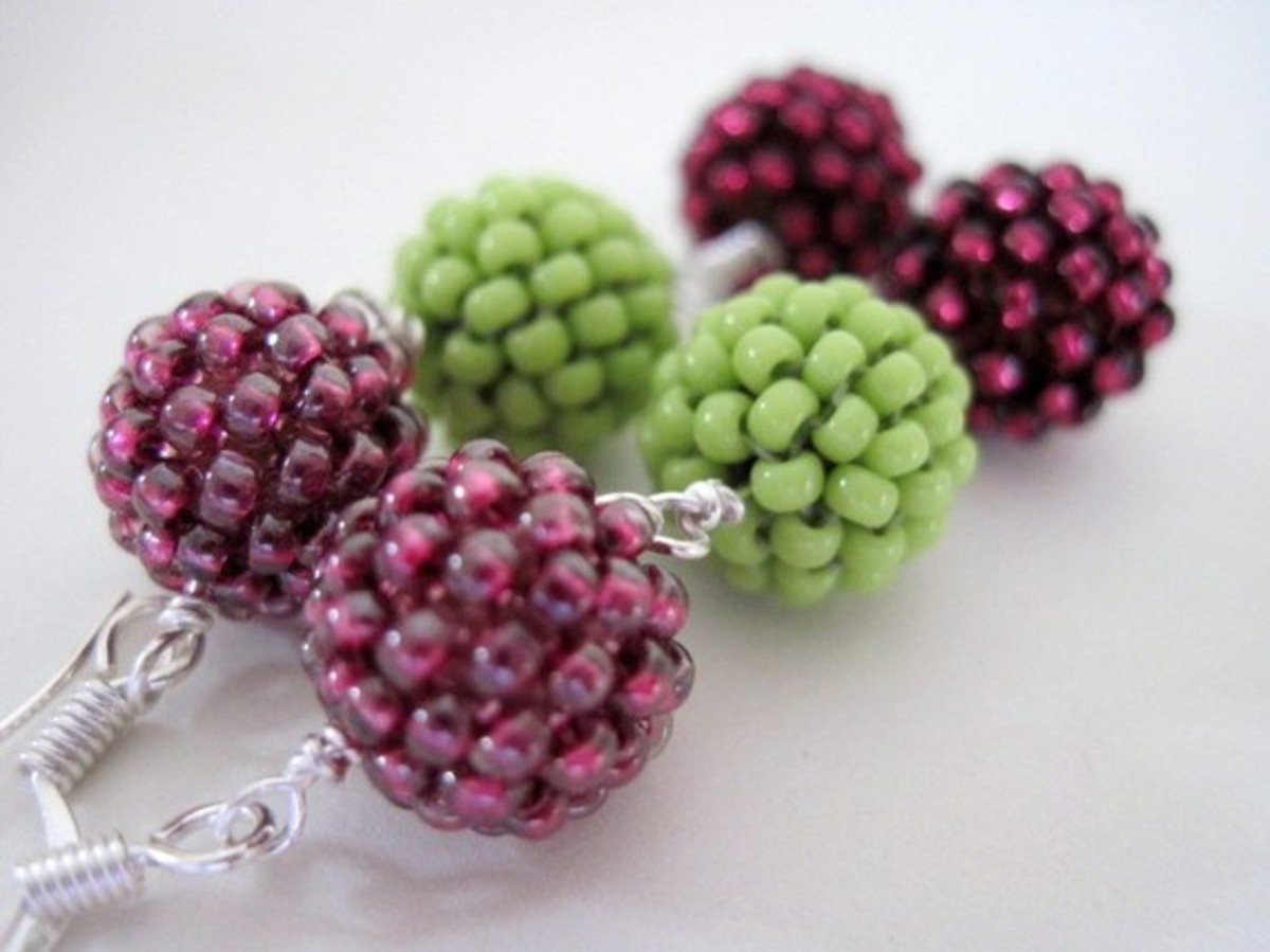 Combine several beaded beads in the same style for earrings, pendants, necklaces, or bracelets.  Have fun mixing up the colors, beads, and beaded bead sizes.