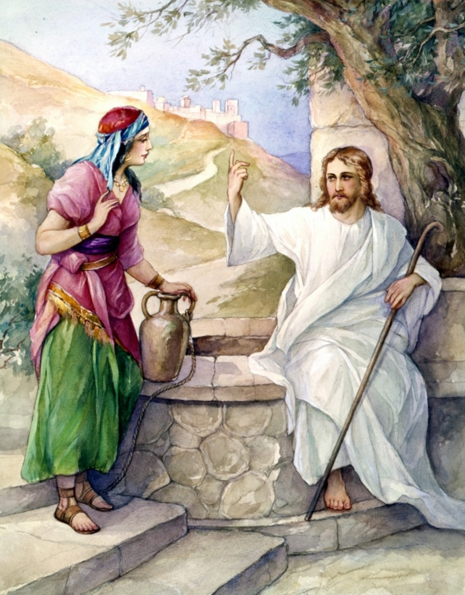 Jesus evangelizes the woman at the well with love and grace.