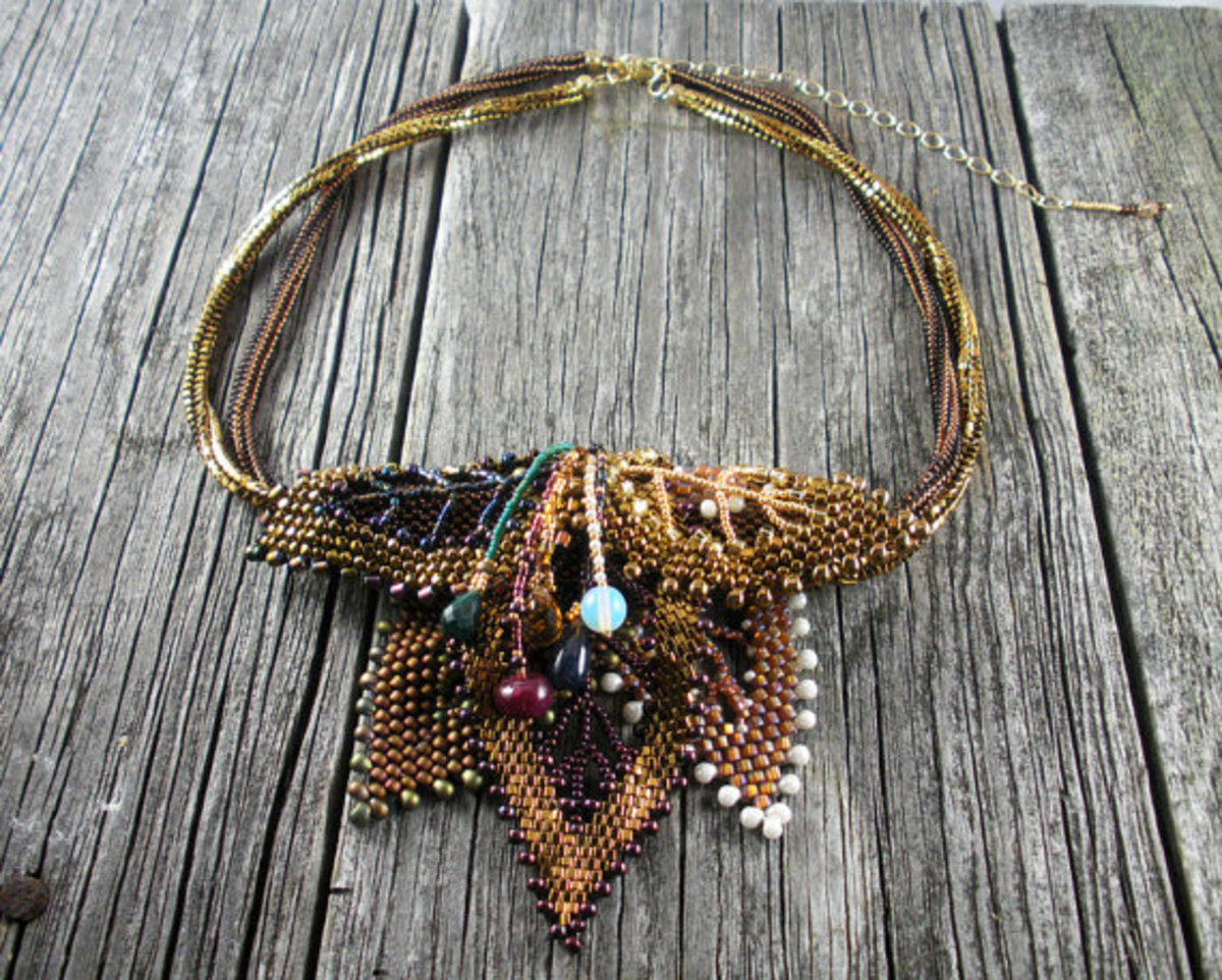 "Made to Order: Beadwoven ""Russian Leaves"" Necklace: Changing the colors in this piece would significantly change feel of these piece.  Consider colors that portray different seasons."
