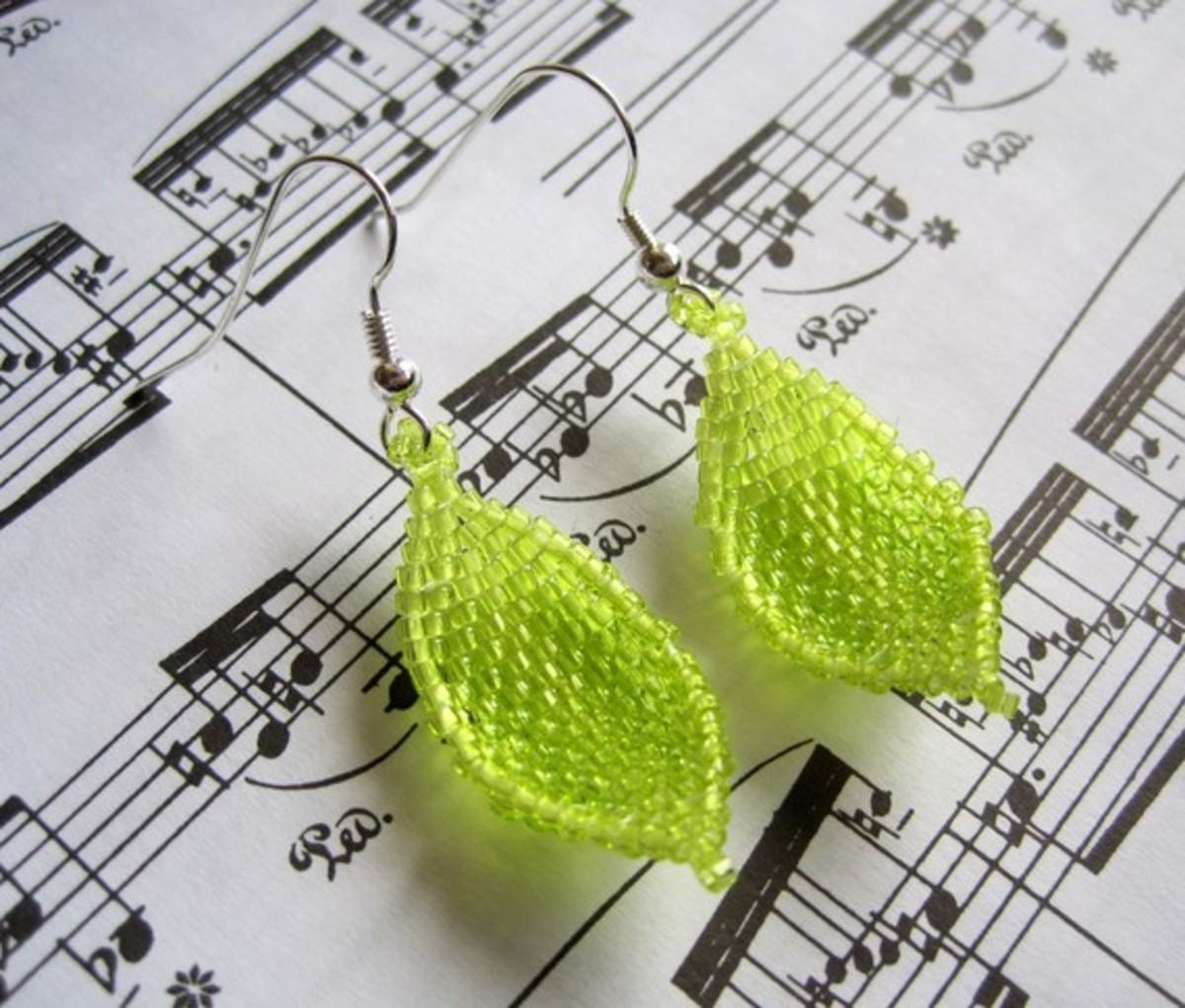 Beaded Dangle Earrings - Lime Green Leaves: I like to combined coordinating shades of delicas and Czech seed beads to make curved leaves for earrings.