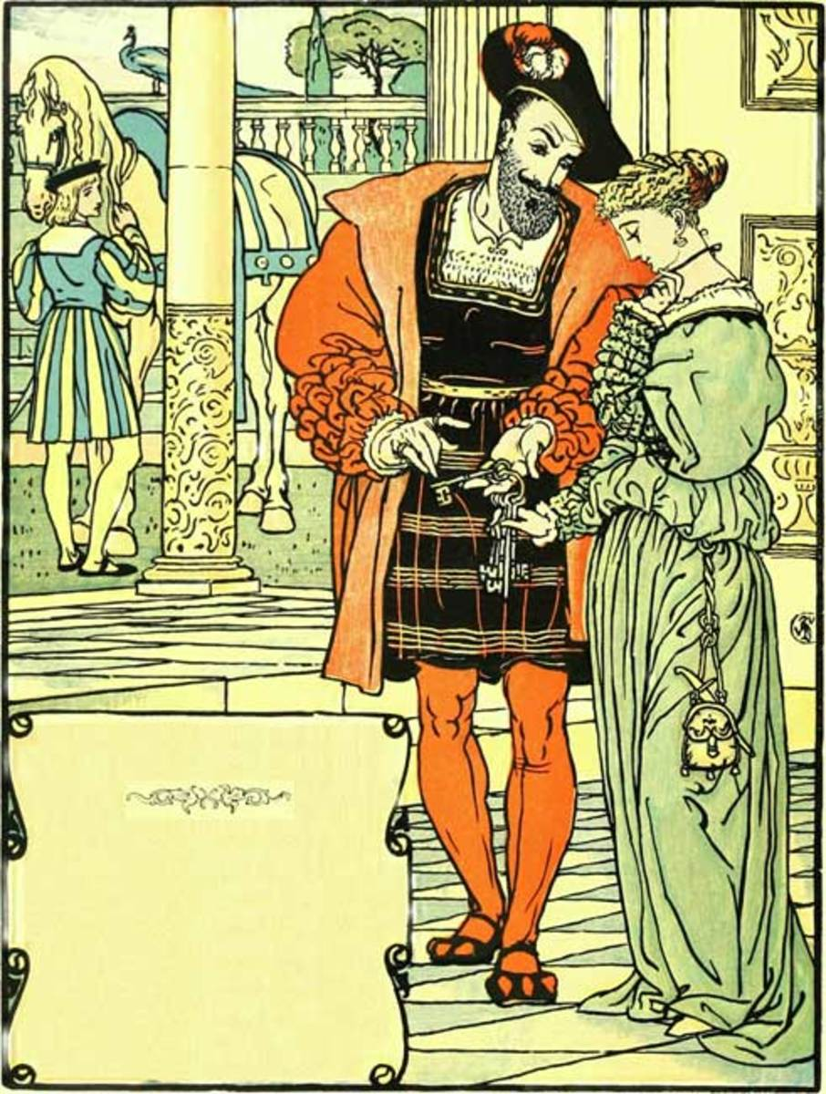 Walter Crane. Bluebeard showing his new wife the keys to the house.
