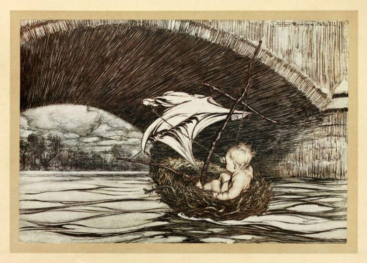 Peter Pan sailing a birds nest in 'Peter Pan in Kensington Gardens'
