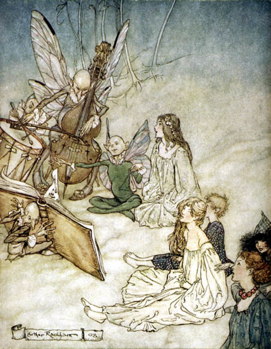 Faeries in Midsummer's Night Dream. Arthur Rackham