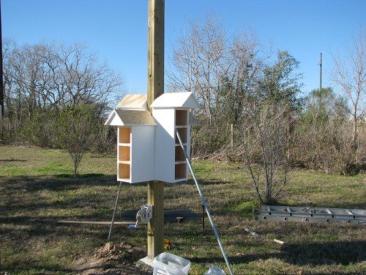 One of our T-14 houses being attached around the post.