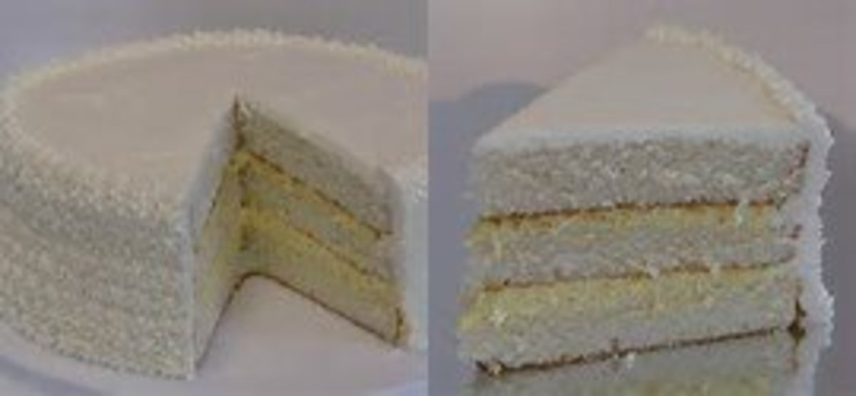 White cake with bavarian cream filling
