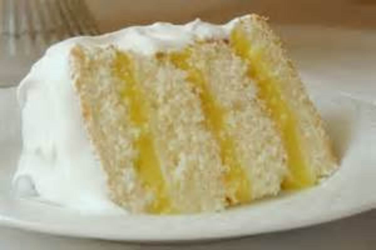 White cake with lemon pudding filling.