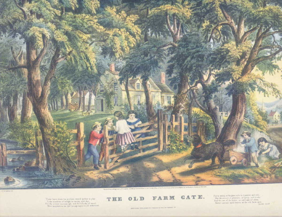 The Old Farm Gate print; Donald Art Co. reproduction