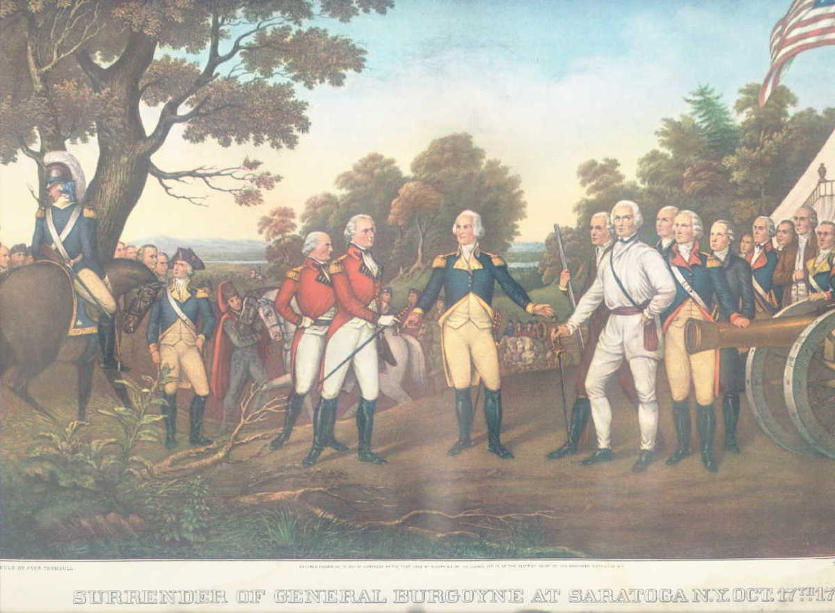 Surrender of General Burgoyne at Saratoga NY;Oct.17.1777.; 1961 Travelers Insurance calendar page