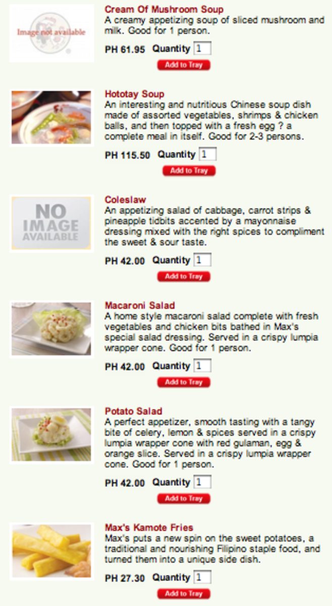 Max's Side Dishes and Extras