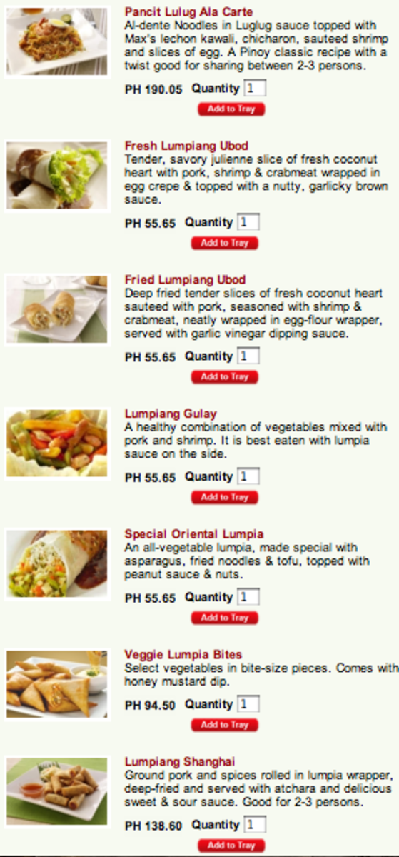 Max's Extras and Side Dishes Menu