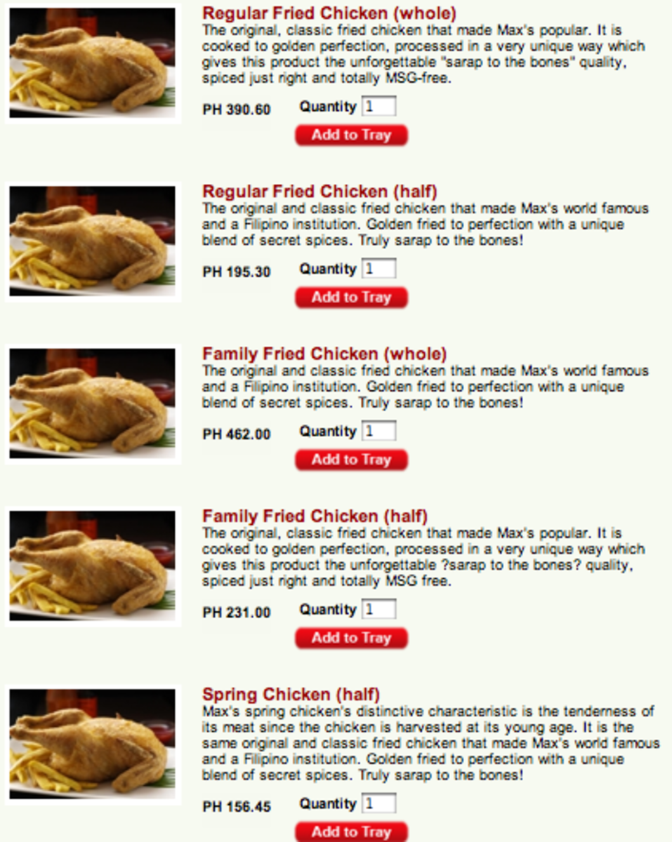 Max's Delivery Philippines Menu and Number