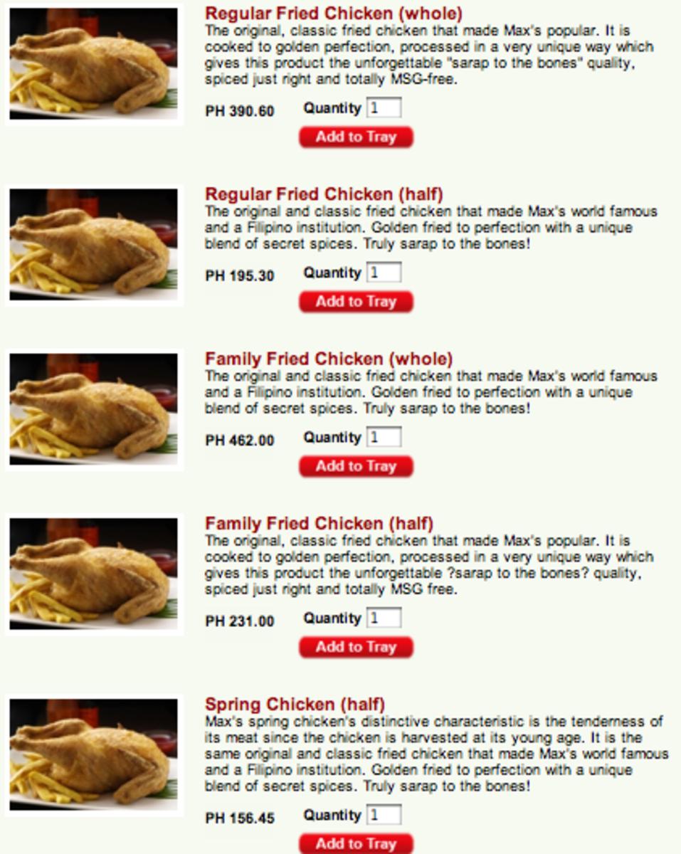 Max's Delivery Menu Chickens