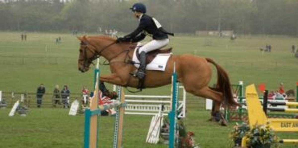 A show jumper maintains her lower leg position as she goes over a fence