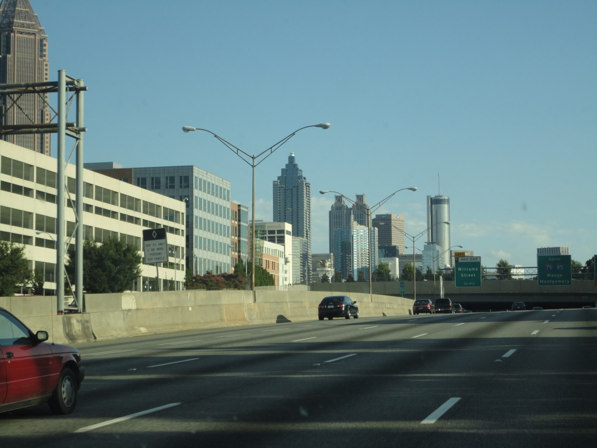Driving through Atlanta on a Saturday when traffic is light.