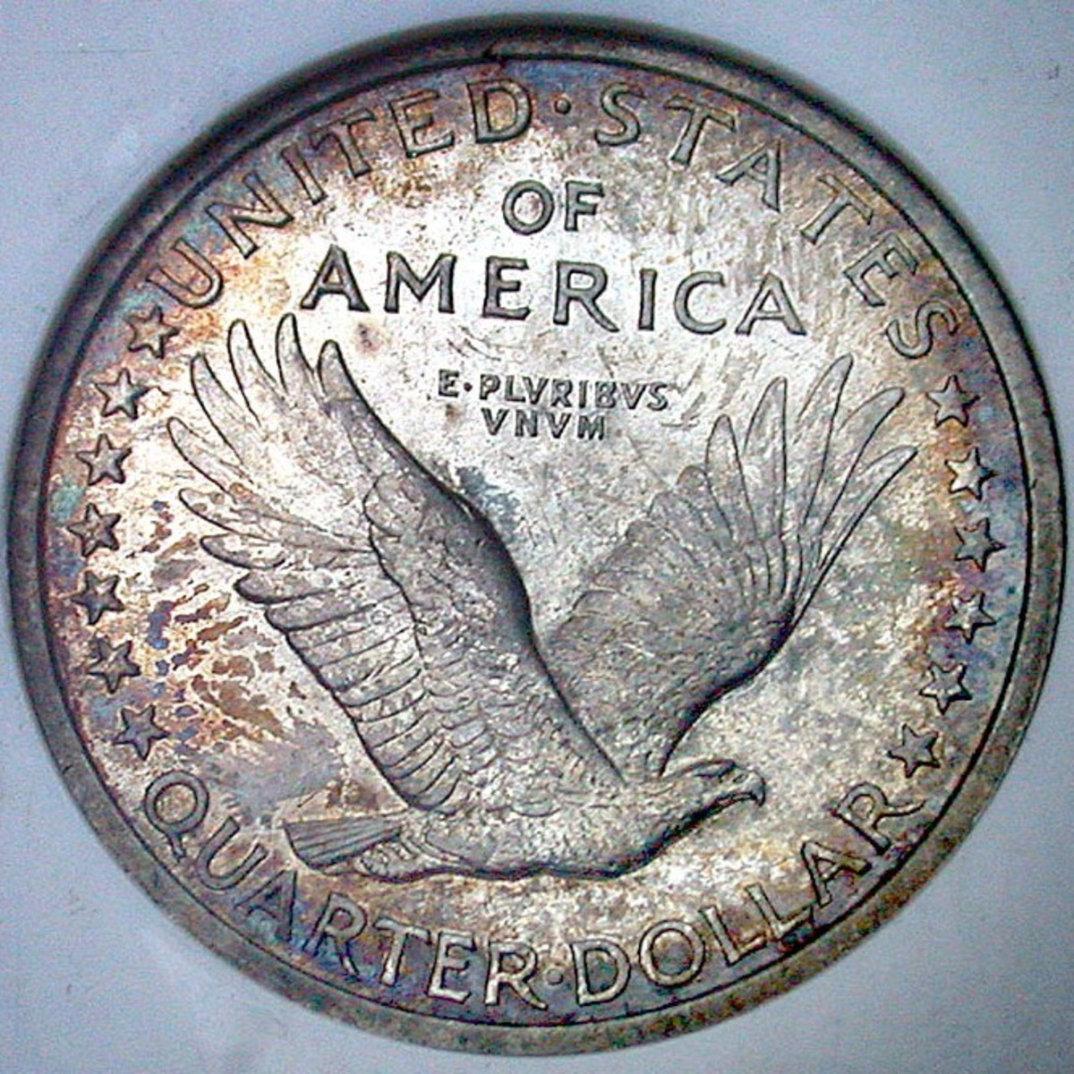 1917 Standing Liberty Quarter Reverse. Variety 1 w/o stars under the Eagle.