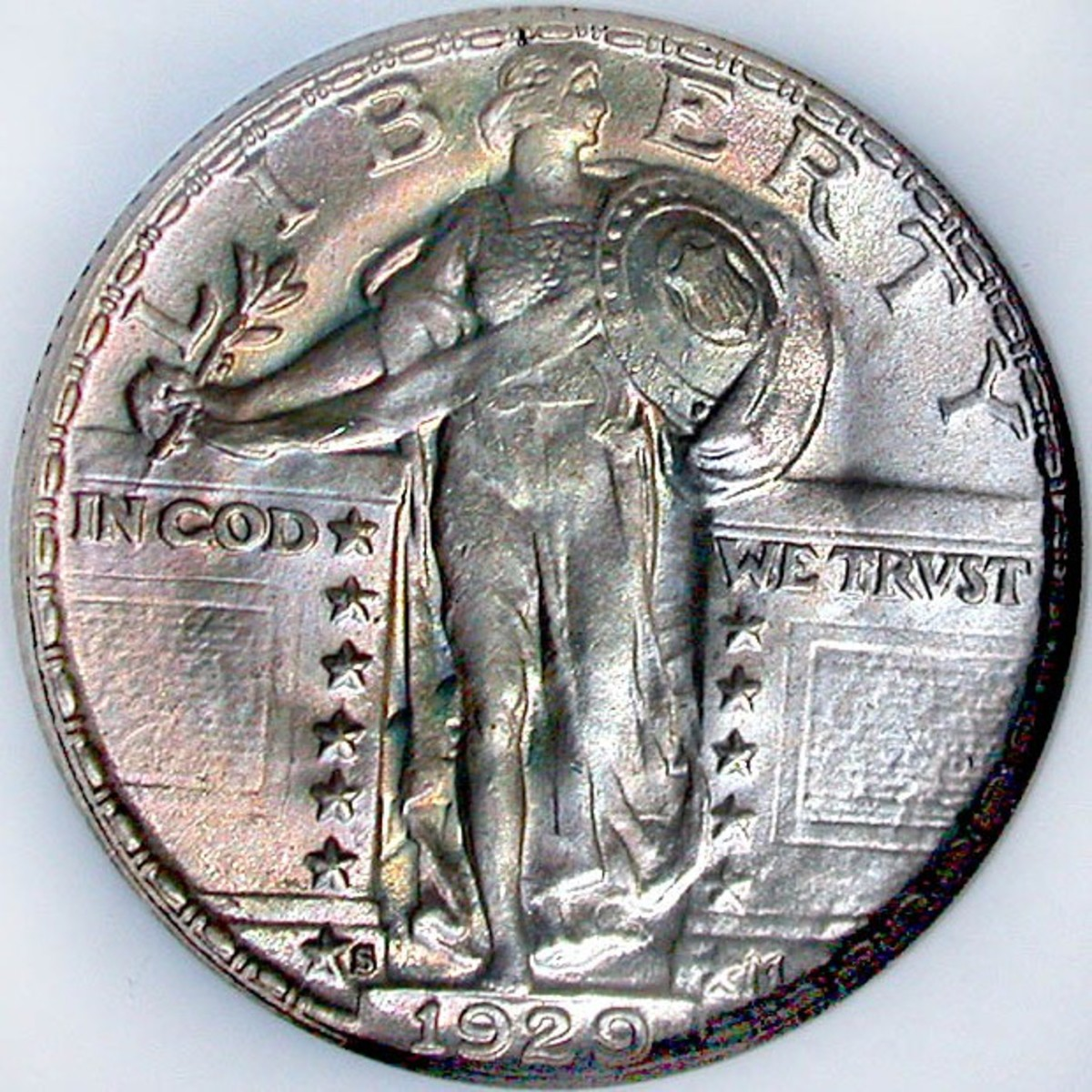 1929S Standing Liberty Quarter. Variety 2 w/covered breast. Mintmark can be observed by Liberty's feet. Photo Courtesy: coinpage.com