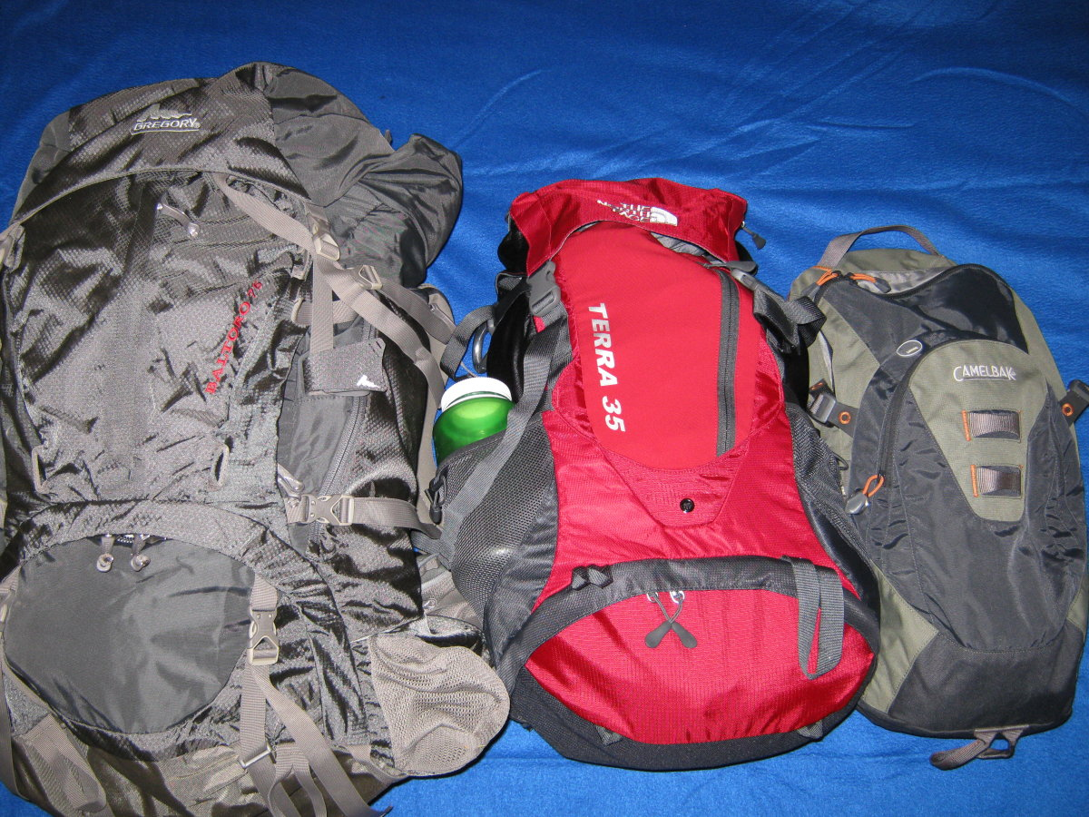 Three of my packs: Gregory Baltoro, The North Face Terra 35, Camelbak Cloud Walker.