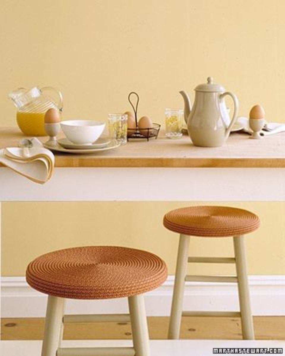 Stools covered with rope. Link below with how-to instructions. Source:  MarthaStewart.com