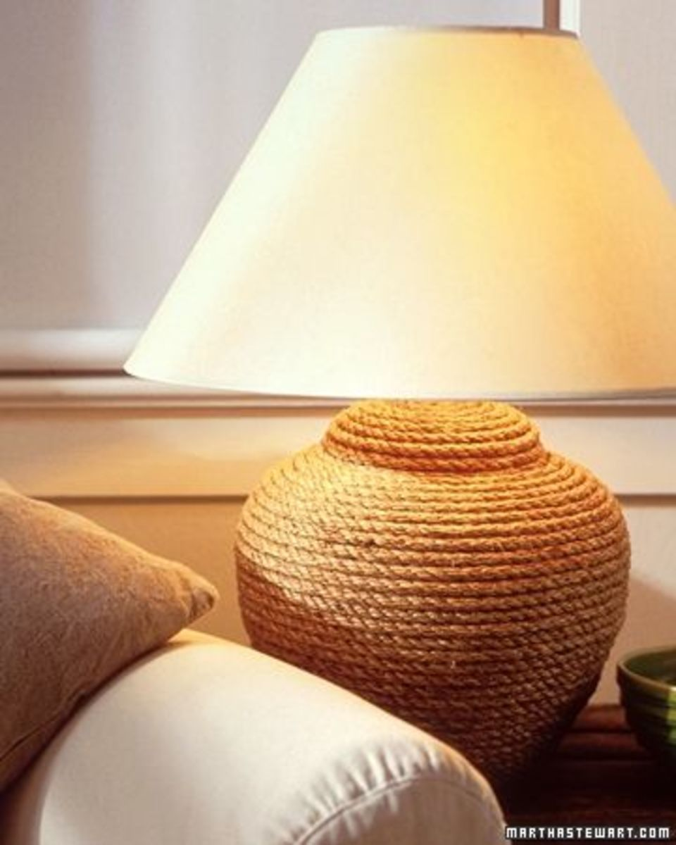 Lamp covered with rope. See link below to see how its made. Source:  MarthaStewart.com