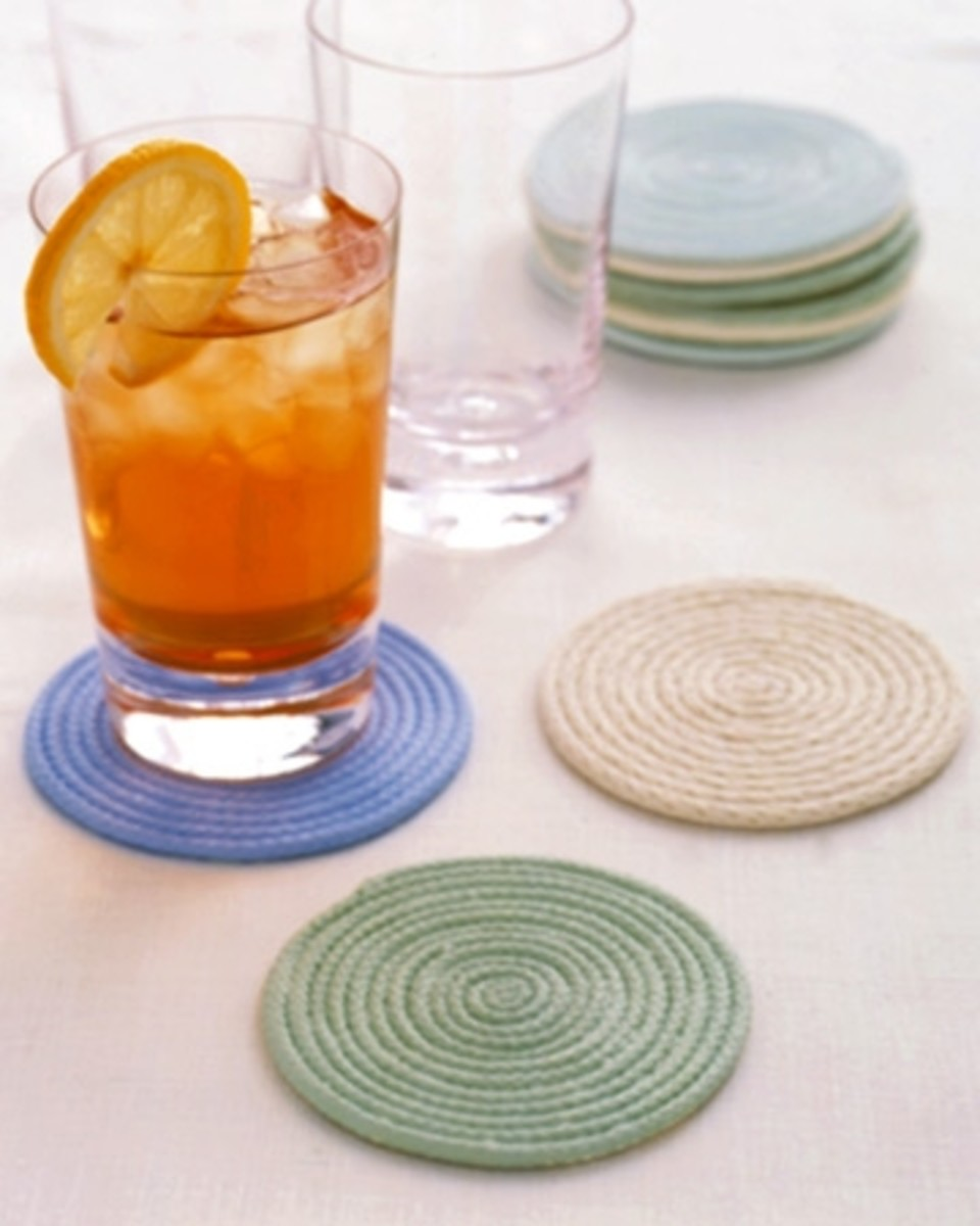 Rope coasters to make. See link below for instructions. Source:  MarthaStewart.com