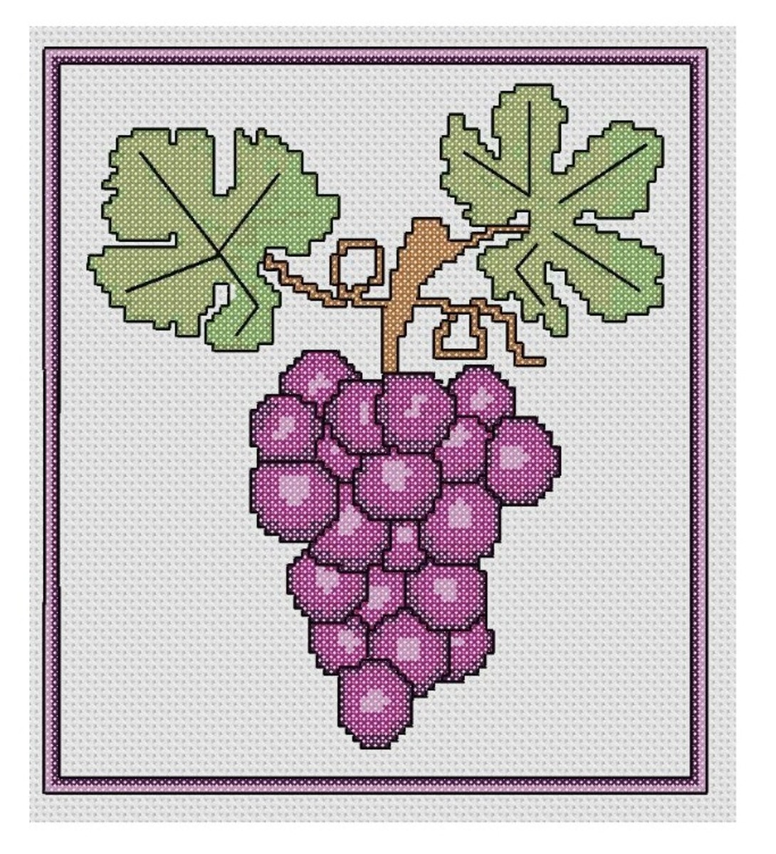 free cross stitch pattern bunch of grapes