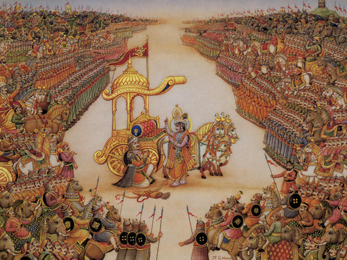 Lord Krishna instructs the great warrior and devotee- Arjuna