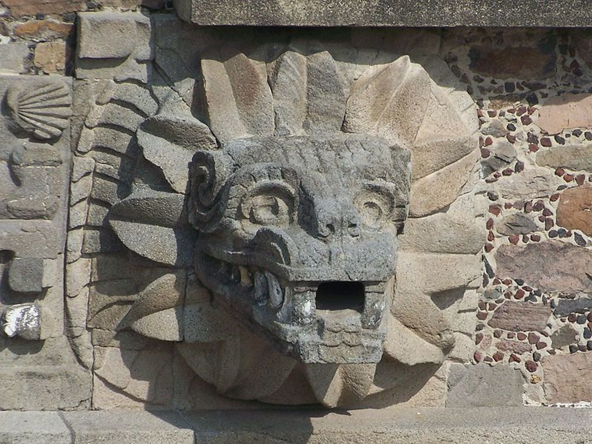 Quetzalcoatl as shown at Teotihuacan in Mexico