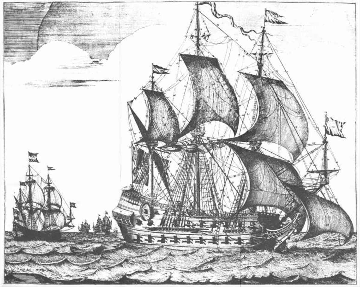 """A drawing of the ship: The Weapon of Hoorn (""""Het Wapen van Hoorn"""" in Dutch)"""