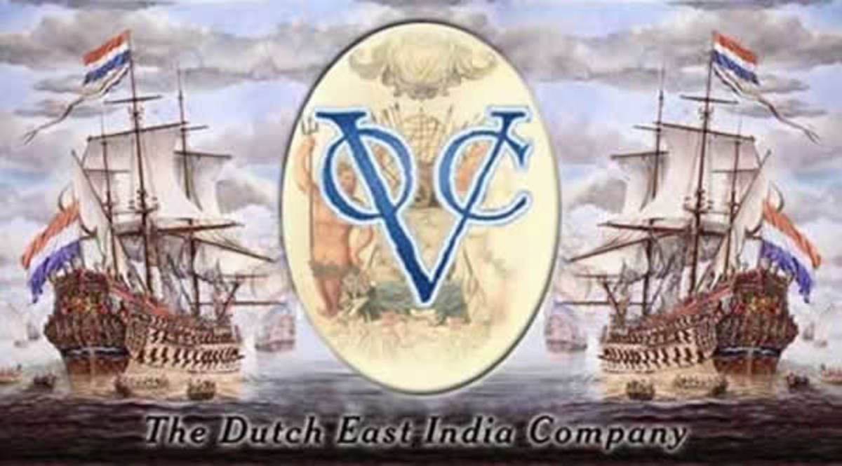 The VOC logo embedded in a picture of two VOC ships