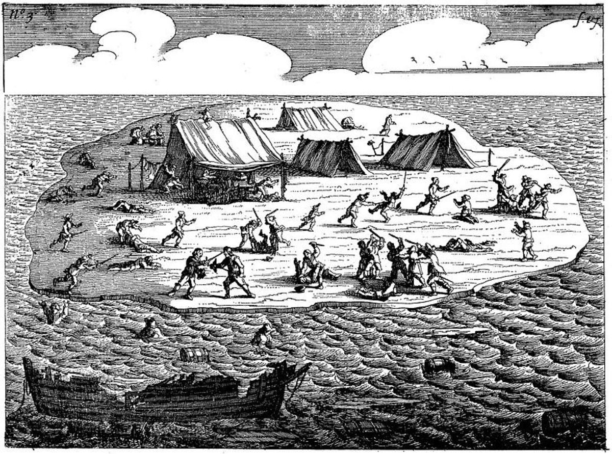 Drawning of the surviving crew of the Batavia, which became a group of murderers.