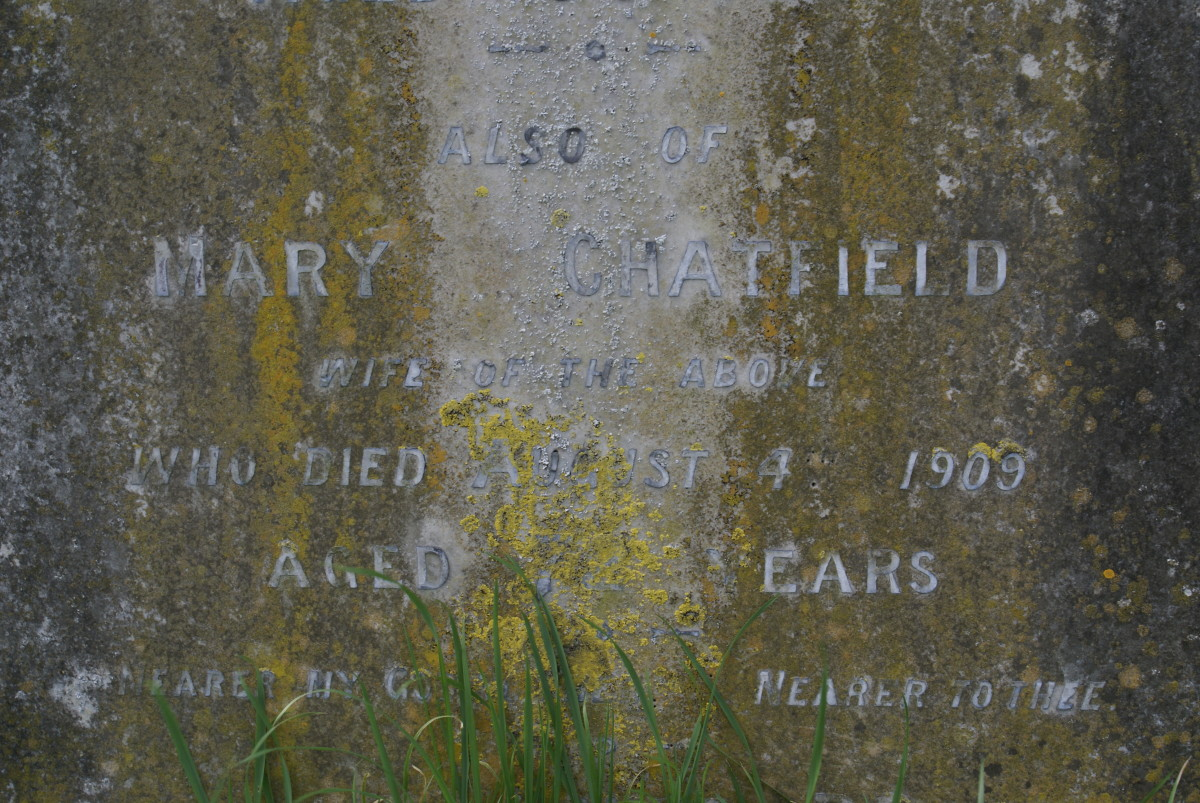 Mary Chatfield, died 4 Aug 1909, gravestone location 66c