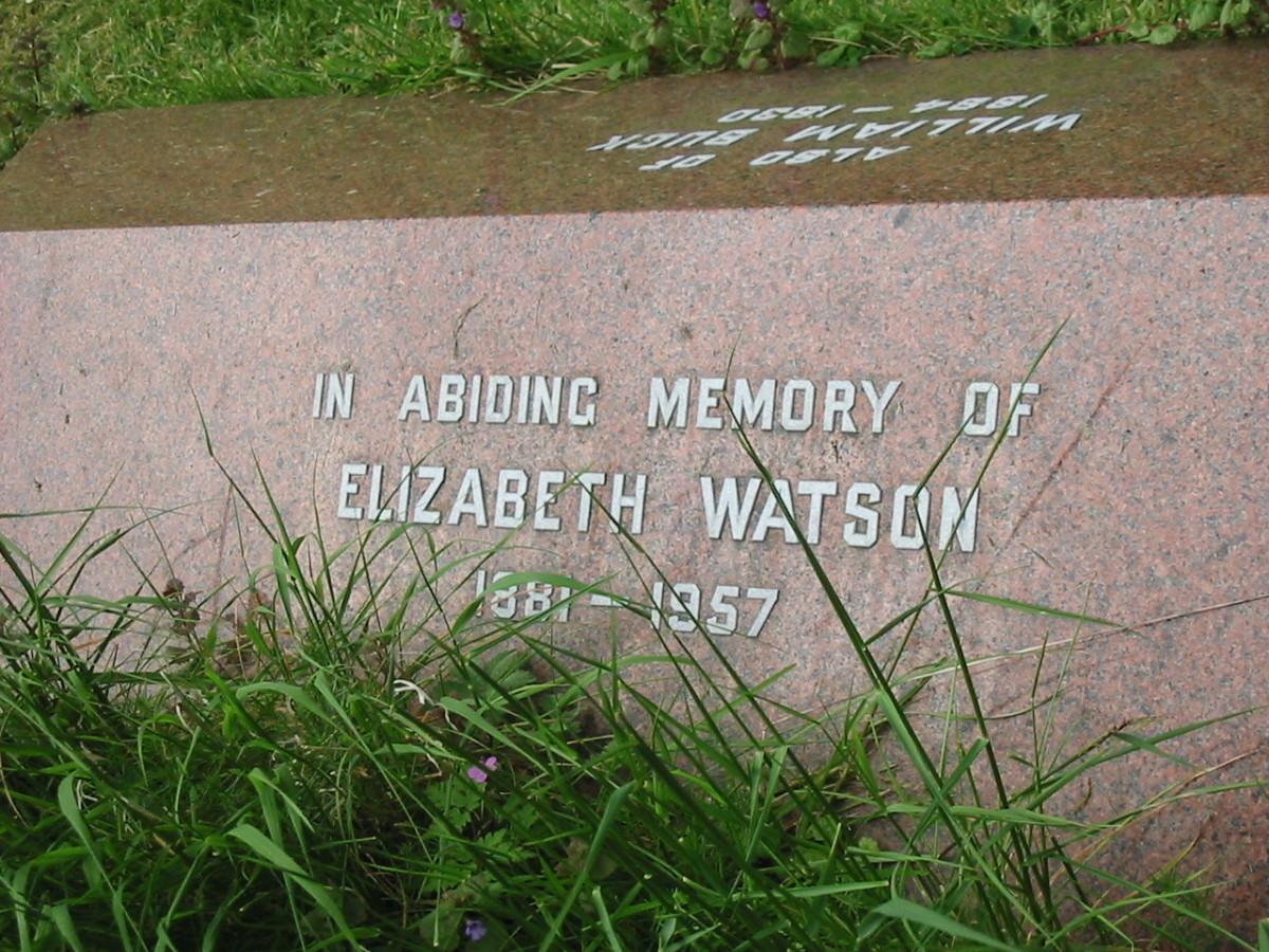 Elizabeth Watson (on opposite side of William Buck) gravestone.