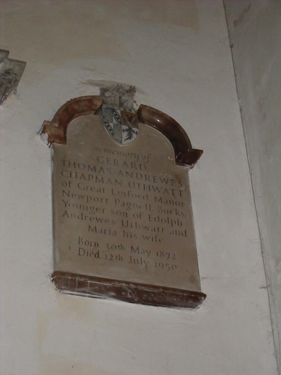 Gerard Thomas Andrewes Chapman Uthwatt, memorial plaque inside St. Andrews Church
