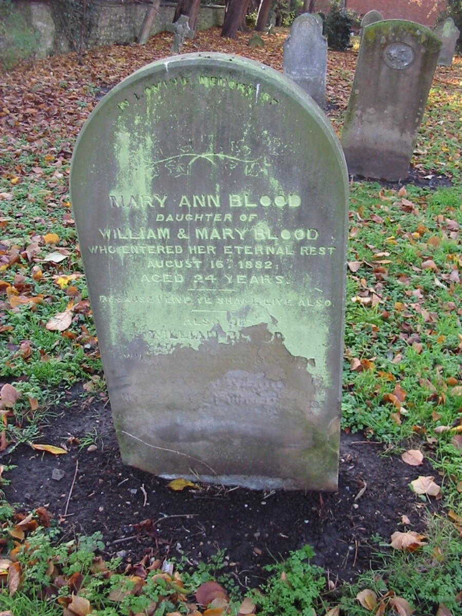 Mary Ann Blood died 16 Aug 1882 buried at St. George, Wolverton, Buckinghamshire