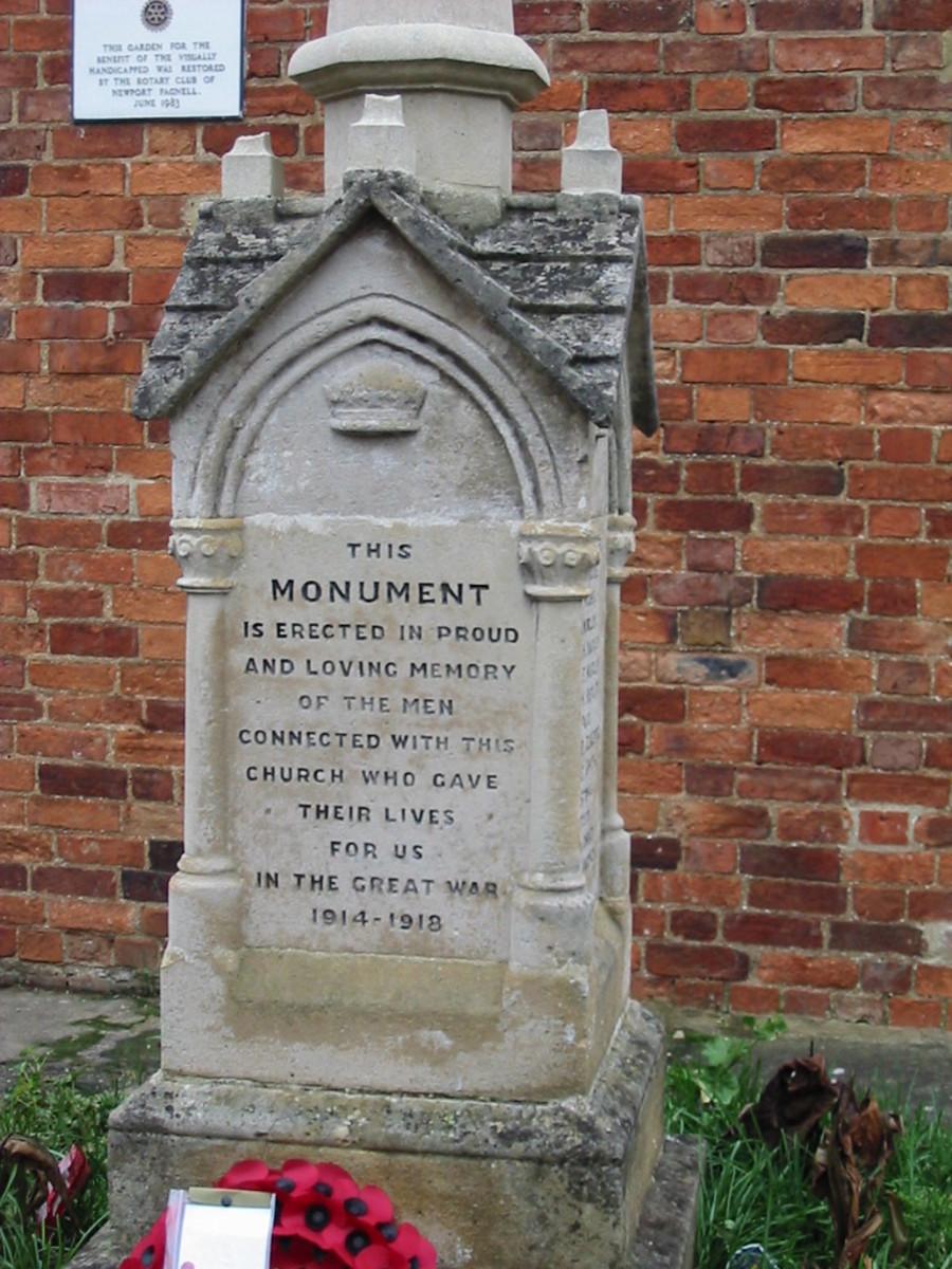 War Memorial, Newport Pagnell Methodist Church, Newport Pagnell, Buckinghamshire