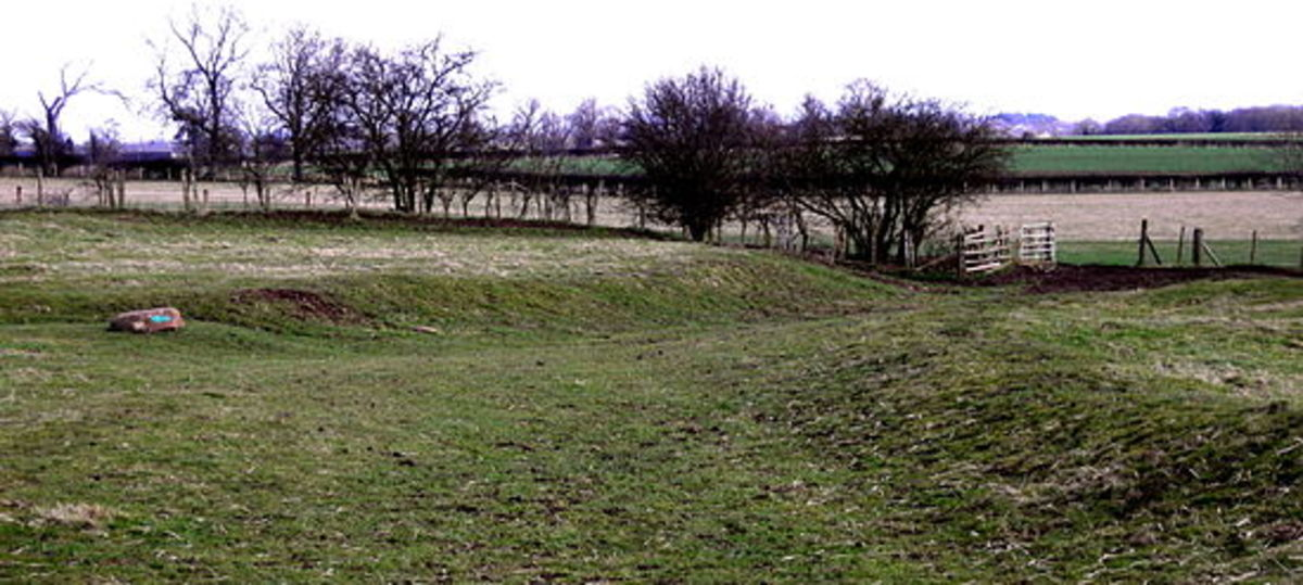 Ground-level view of the site investigated by Time Team. The Hollow Way, seen here led to  Thornton Hall, now an English Heritage site