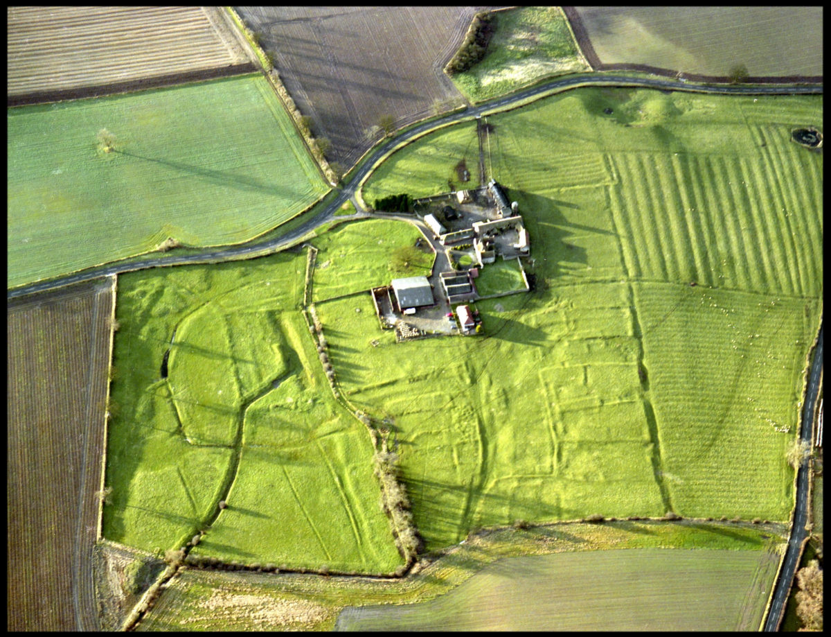 Ulnaby Hall Farm from the air, showing the 'imprints' of dwellings. The site was probably begun and occupied by Danes from across the River Tees after the 'Harrying of the North' by King William I in 1069.