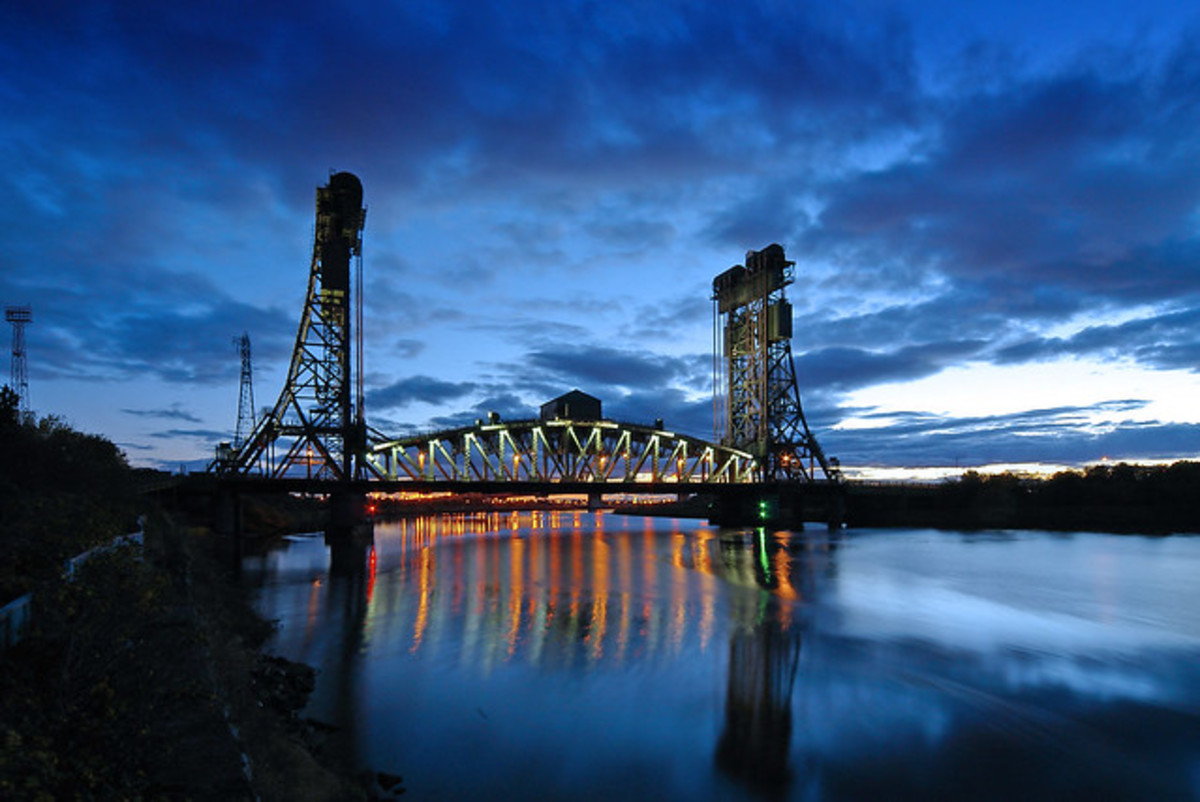 The Newport Lift Bridge across the Tees hasn't been operational for some time, the deck now permanently down as part of the A19 road that links Selby, York, Middlesbrough, Sunderland and Newcastle-on-Tyne,