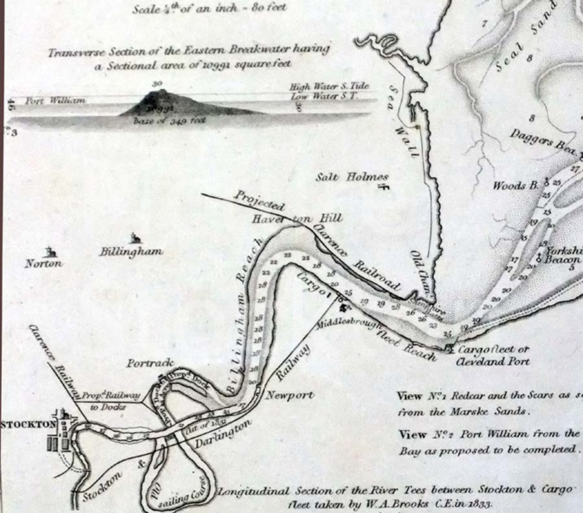 Plan shows the Tees Cut at Portrack near Stockton completed in 1831. The earlier Mandale Cut completed 1810 was to straighten the southern meander in the very 'mobile' River Tees