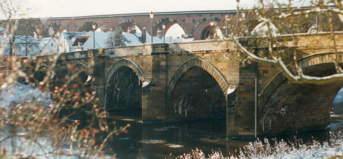 Two bridges span the Tees at Yarm. The nearer one is the road bridge that leads to the market square - seen from egglescliffe